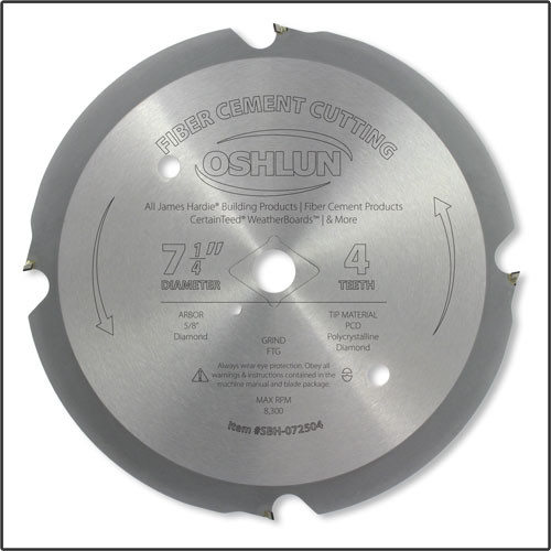Oshlun 7-1/4-Inch 4 Tooth PCD Saw Blade with 5/8-Inch Hole with Diamond Knockout, for Fiber Cement