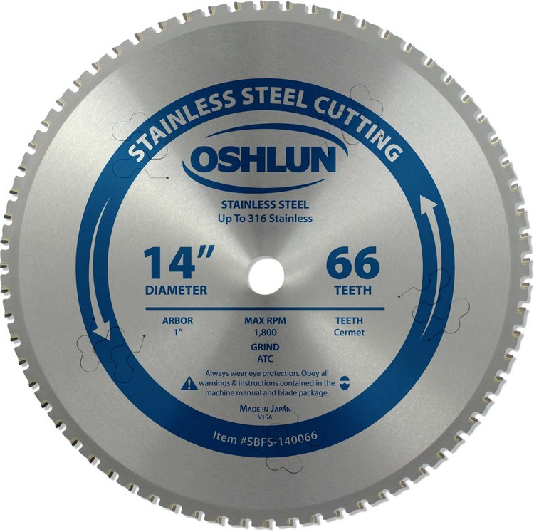 "OSHLUN 14""x 66 Tooth Cermet Tipped Saw Blade, 1"" Hole for Cutting Stainless Steel"