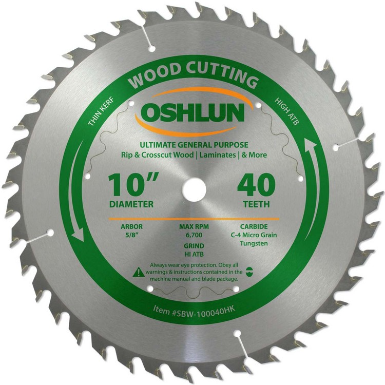 "OSHLUN 10""x 40T ULTIMATE General Purpose High ATB, 5/8"" Hole, .094"" Thin Kerf"