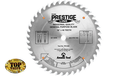 "AMANA Prestige 10""x40T ATB, 5/8 Hole, .134"" Kerf General Purpose Saw Blade - $15.00 OFF Sharpening Offer Included"