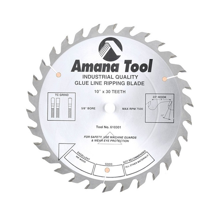 "Amana 10"" x 30T Glue Line Rip Saw Blade - $15.00 OFF Sharpening Offer Included"
