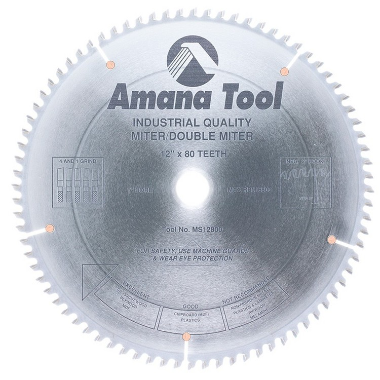 "Amana 12x80T Miter/Double Miter Saw Blade, 1"" Hole, .122"" Kerf"