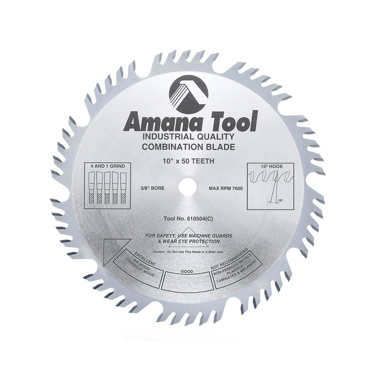 "Amana 10"" x 50T Combination Rip & Crosscut Saw Blade - $15.00 OFF Sharpening Offer Included"
