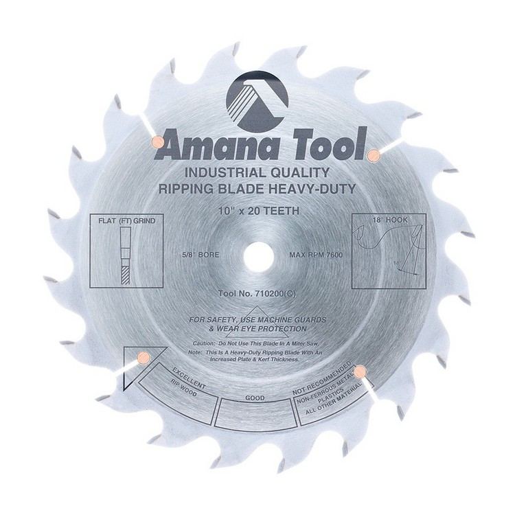 "Amana 10"" x 20T Heavy Duty Rip Saw Blade - $15.00 OFF Sharpening Offer Included"