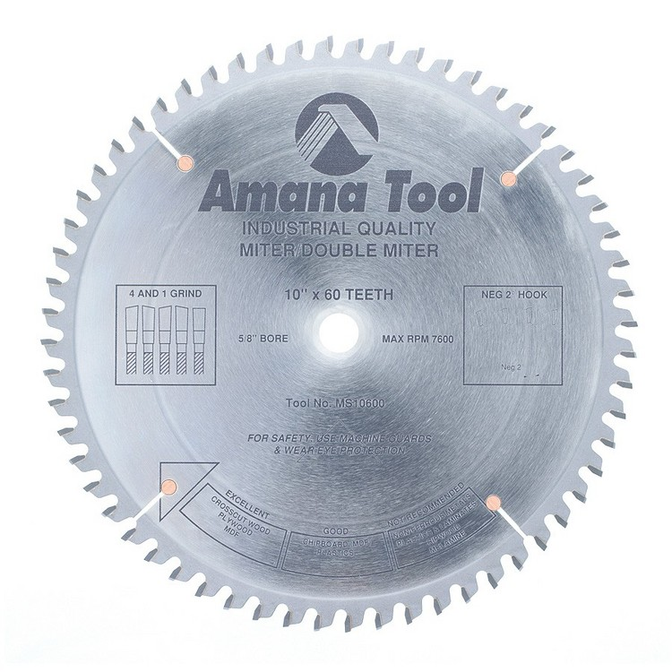 "Amana 10x60T Miter/Double Miter Saw Blade, 5/8"" Hole, .115"" Kerf"