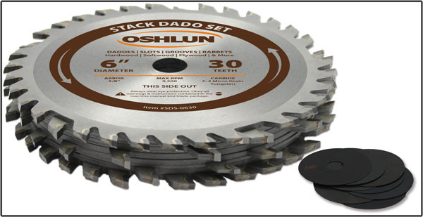 "6x30T 29/32"" width Professional Stack Dado Set -  Made by Oshlun - $15.00 OFF Sharpening Coupons Included"