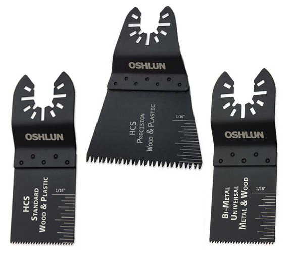 Oshlun MMA-9903 Oscillating Tool Blade Combo 3-Pack with Uni-Fit Arbor for Fein Multimaster, Dremel, and Bosch