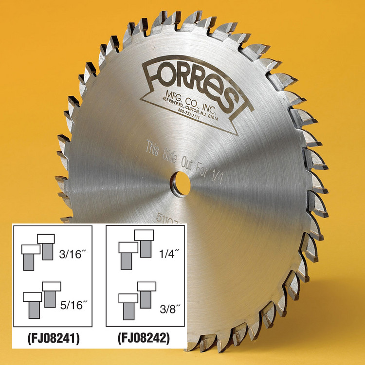 "4-Pc. Cutter Set For Finger & Box Joints - Makes 3/16"" & 5/16"" and 1/4"" & 3/8"" Cuts - Made by Forrest - OUT OF STOCK"