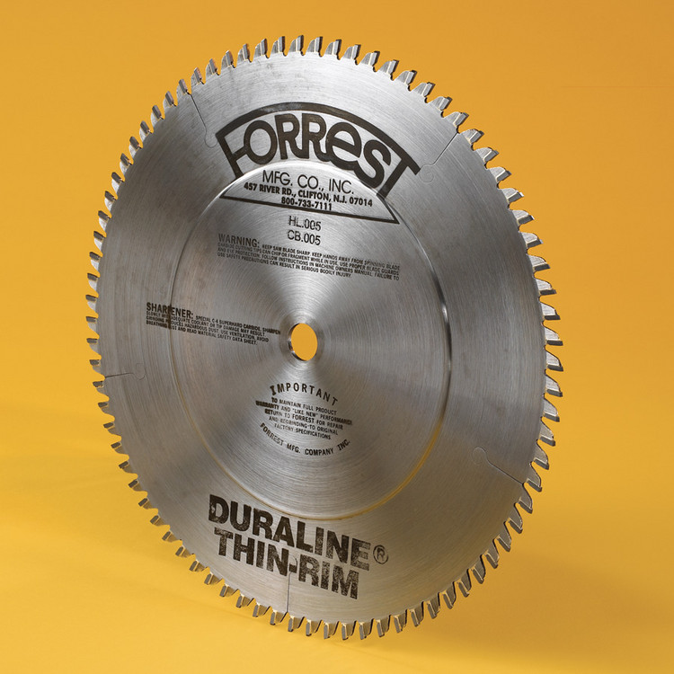 "Forrest 12"" x 80 tooth, 1"" Hole, .085: Kerf, .060"" Rim, +5 Face Hook, Modified TCG - DURALINE THIN-RIM Saw Blade"