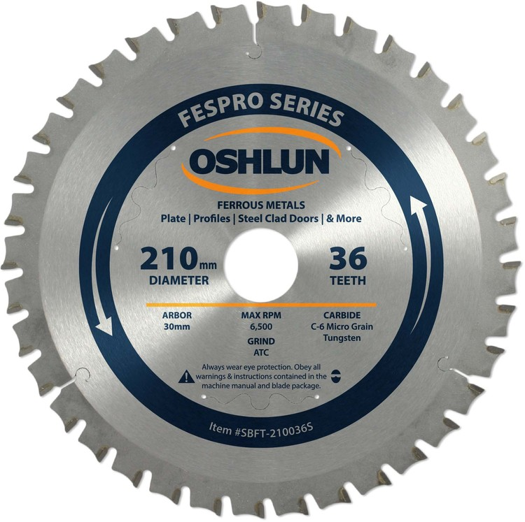 OSHLUN Steel & Ferrous Metal Cutting Blade 210mm x 36T FesPro Ferrous ACT Saw Blade with 30mm Arbor for Festool TS 75 EQ