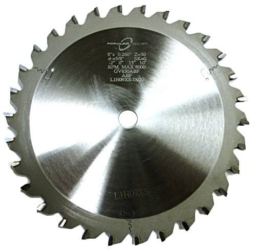 "Popular Tools 8"" x 30T Grooving Saw Blade, -2 face hook, .327"" Kerf"