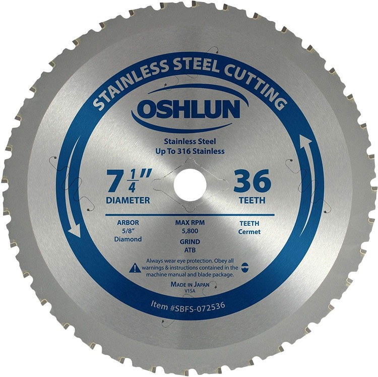 """OSHLUN 7-1/4""""x36 Tooth Cermet Tipped Saw Blade, 5/8"""" Hole with Diamond Knockout for Cutting Stainless Steel"""