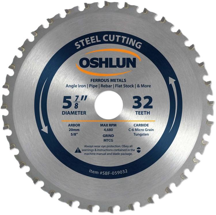 OSHLUN Steel & Ferrous Metal Cutting, 5-7/8-Inch 32 Tooth MTCG Saw Blade with 20mm Arbor (5/8-Inch Bushing)