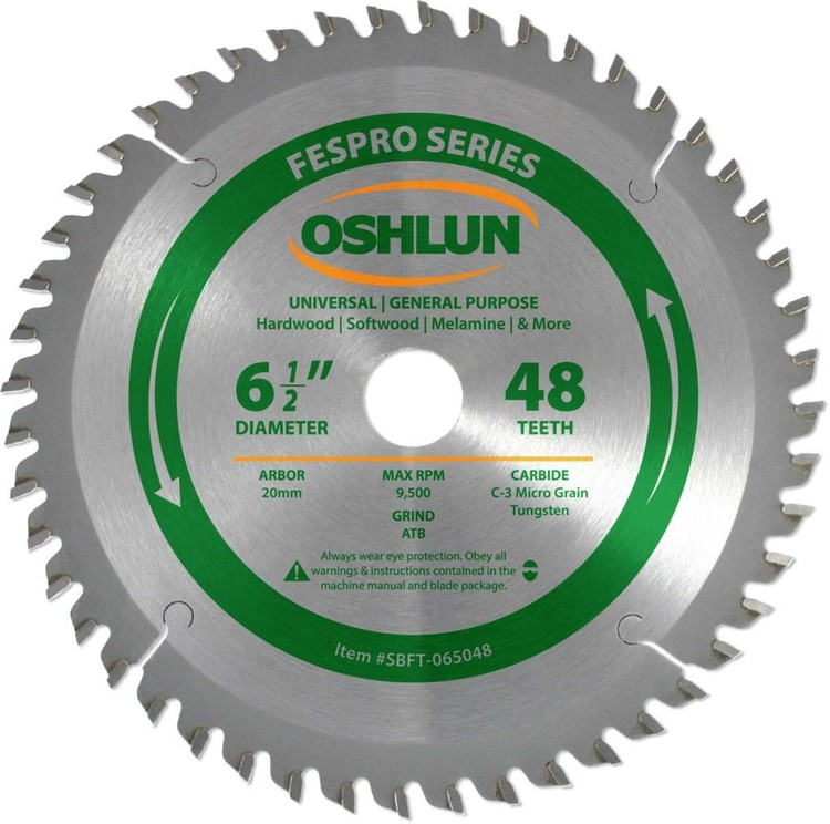 Oshlun 6-1/2-Inch 48 Tooth FesPro Crosscut ATB Saw Blade with 20mm Arbor for DeWalt DWS520 and Makita SP6000