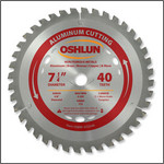 "Oshlun 7-1/4""x40T TCG, 5/8"" Hole (with Diamond Knockout) for Aluminum & Nonferrous Metals"