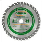 "Oshlun 5-1/2""x36T ATB Finishing & Trimming Saw Blade with 5/8"" Hole (1/2"" & 10mm Bushings)"