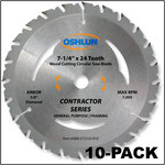 "Oshlun 7-1/4""x24T ATB Contractor Series General Purpose & Framing Saw Blade, 5/8-Inch Hole with Diamond Knockout, 10-Pack"