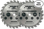 "Oshlun 7-1/4""x24T ATB Builder's Ace General Purpose & Framing Saw Blade, 5/8-Inch Hole with Diamond Knockout, 2-Pack"