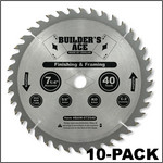 "Oshlun 7-1/4""x40T ATB Builder's Ace General Purpose & Framing Saw Blade, 5/8-Inch Hole with Diamond Knockout, 10-Pack"